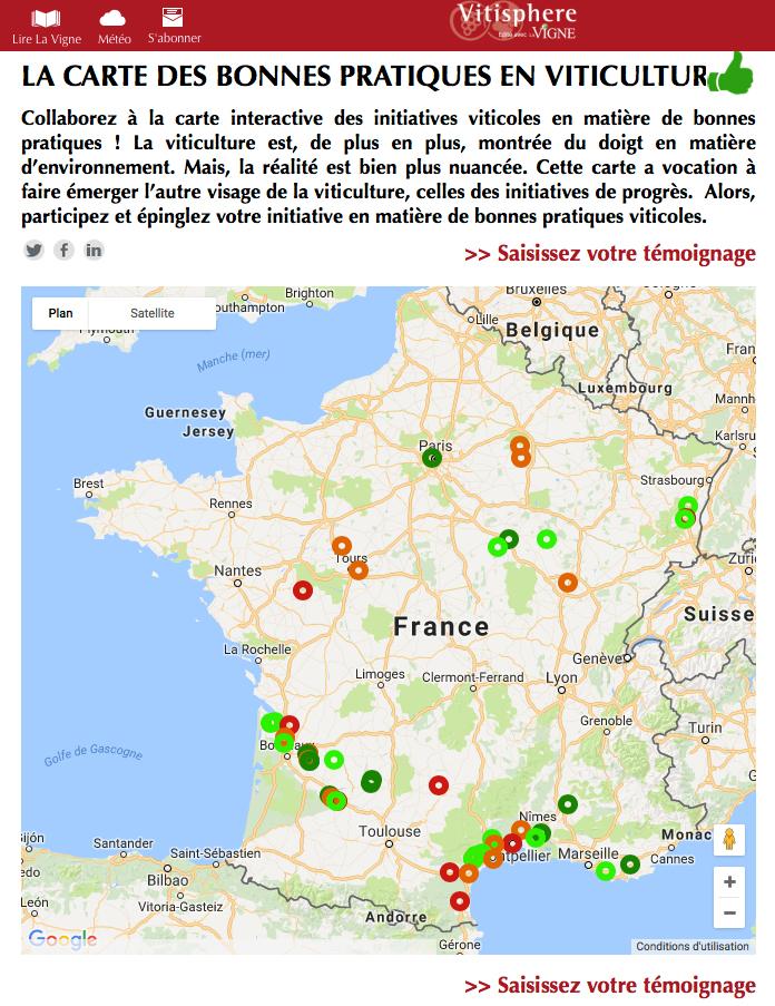 La carte des bonnes pratiques viticoles